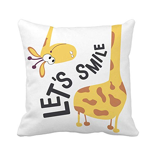 18x18 Inch Throw Pillow Cover Let's Smile A Positive Motivational Phrase Or Saying The Giraffe Wonders Where Tail Home Decor Pillowcase Square Pillow Case Cushion Cover For Sofa Bed 18' X 18'(IN)
