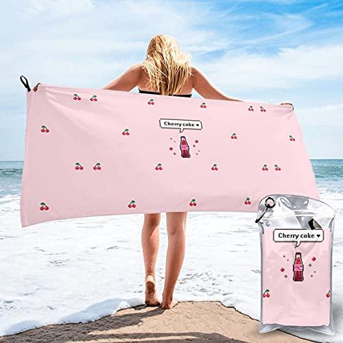 Sunmuchen Toalla de baño Cherry Coke, toalla de gimnasio, toalla de playa, uso multiusos para deportes, viajes, súper absorbente, microfibra suave de secado rápido, ligero