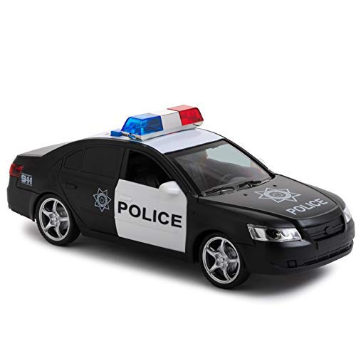 Friction Powered Police Car with Light & Sounds – Heavy Duty Plastic Vehicle Toy for Kids & Children – Openable Doors, Detailed Interior by Toy To Enjoy