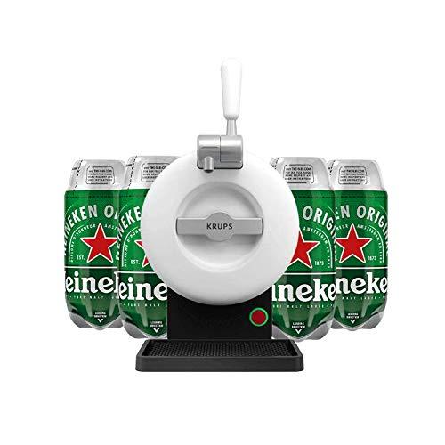 Les5CAVES - Tireuse à bière Starter Krups The SUB Classique Blanc - Compatible avec les Fûts 2L The SUB + 4 fûts Heineken Torp 2L