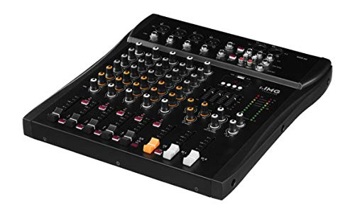 IMG STAGELINE MXR-60, 6-Kanal Audio-Mischpult mit integriertem MP3-Player und Bluetooth-Empfänger, Audio-Console mit 4 Mono-Eingangskanälen mit Gainregler, Mix-Pult in Schwarz