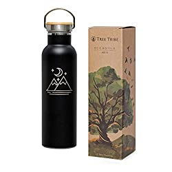 A picture of the Tree Tribe Eco Friendly aluminum water bottle, which is black and features a mountain graphic. Water bottles are a carry on essential to stay hydrated on long flights.