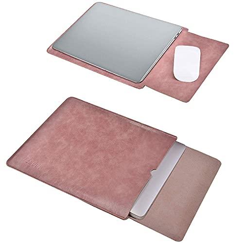 TECOOL Laptop Hülle 13,3 Zoll Tasche, Wasserdicht Leder Schutzhülle Hülle für 2012-2021 MacBook Air/Pro 13, MacBook Air/Pro 13 M1 2020,Surface Laptop 4-1,LincPlus,Huawei Matebook 13 HP etc-Alte Rose