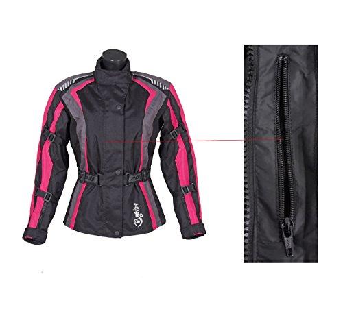 Roleff Racewear Damen Textil Motorradjacke mit Protektoren, Gute Belüftung, Taillierter Schnitt, Schwarz, Pink , Größe XXL - 7