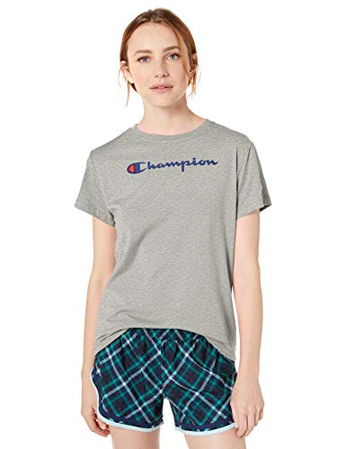 Champion womens Classic Jersey Short Sleeve Tee T Shirt, Oxford Gray - Champion Graphic, Small US
