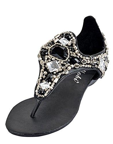 Minetom Damen Sommer Faux Strass Strandschuhe Keilabsatz Sandalen Pantoffeln Peep Toe T-Strap Flip Flops Schwarz EU 40