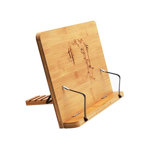 QNMM Bamboo Book Stand, Adjustable Book Holder Tray and Page Paper Clips, Cookbook Reading Desk Portable Sturdy Lightweight Bookstand for Cooking Cookbooks, Recipes, IPad, Tablets