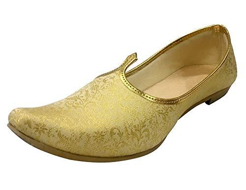 Step n Style Mens Cream Gold Bridal Shoes Wedding Jutti Sherwani Jutti Ethnic Jutti Indian Juti (8.5)