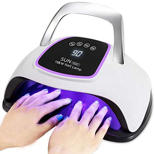 UV LED Nail Lamp, 108W UV LED Nail Dryer for Gel Polish with Large Space for 2 Hands, 4 Timer Setting, Automatic Sensor Salon Curing Lamp for Professional Fingernail and Toenail Art