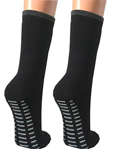 Qano 2er Pack ABS Stopper Socken für Damen schwarz schwarz 39-42