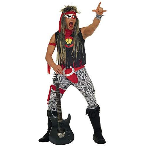Widmann 37863 - Kostüm Rock Star, Set bestehend aus T-Shirt, Hose, Gürtel, Handgelenkbändern, Bändern, Überstiefel und Haarband, mehrfarbige Verkleidung für Herren, Karneval, Halloween