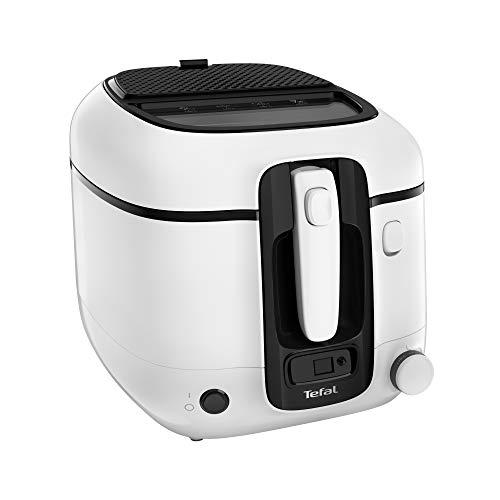 Tefal FR3140 Super Uno Fritteuse | inkl. Timer | Kapazität: 2,2 Liter | spülmaschinengeeignete Teile | Antihaftbeschichtung | Geruchsfilter | Spritzschutz | herausnehmbarer Behälter | Weiß/Schwarz