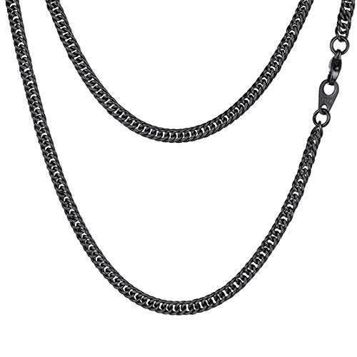 FindChic Black Chain for Men/Women Cuban Curb Link Choker Chain Necklace for Women 3MM 24''