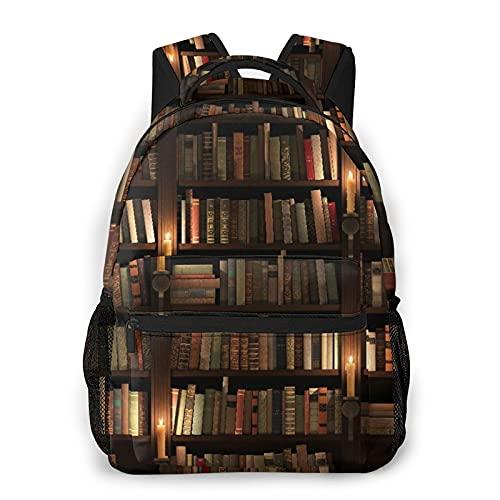 Zaino casual,Libreria Libri Sul Retro Scaffale Con Candele, borsa da viaggio con cerniera, per affari, scuola, lavoro, borsa per laptop 16 'X11.5'X8'