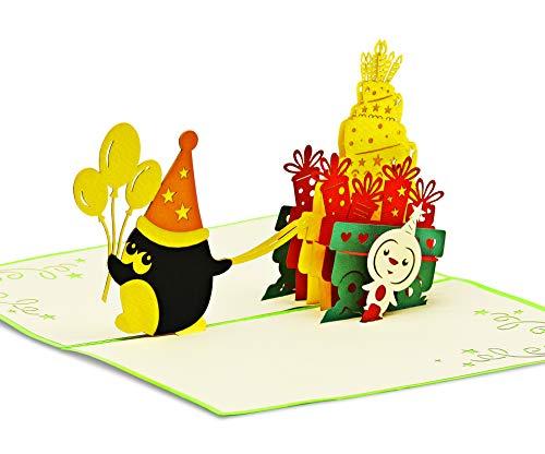 Fröhliche Geburtstagskarte für Glückwunsch & Jubiläum - hochwertige 3D Pop-Up Karte zur Gratulation zum Geburtstag - tolle Glückwunschkarte für Geburtstagsgrüße