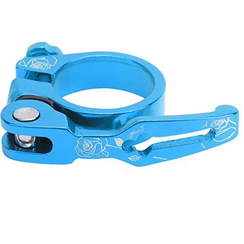 VGEBY Abrazadera de tija de sillín de Bicicleta, 34,9 mm Clip de Poste de sillín de Bicicleta de liberación rápida Abrazadera de sillín de Bicicleta Accesorio de Engranaje Fijo(Azul)