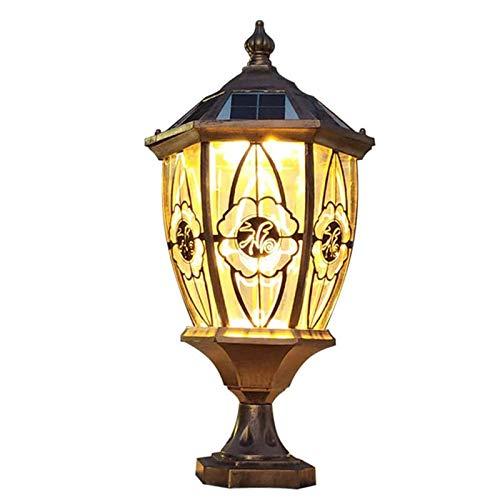 YLLN Luces de tapa de poste solar de latón antiguo Vintage Impermeable Luces de pilar de vidrio para exteriores Lámparas de poste de aluminio de metal retro Valla Puerta Calle Jardín Casa Villa Decora