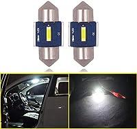 Eseastar T10*28mm LED バルブ 12V-24V SMD1860チップ C5W LED 車内ランプ キャンセラー内蔵 CANBUS 無極性、ルームランプ、ナンバー灯、マップランプ 、カーテシランプ、6000K ホワイト、2個セット