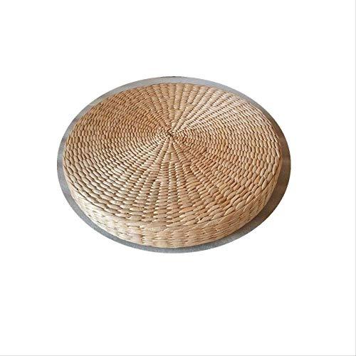 yywl Cojín de 40 cm, natural, tejido natural, redondo, cojín de suelo, puf, tatami, futón, meditación, suelo, yoga