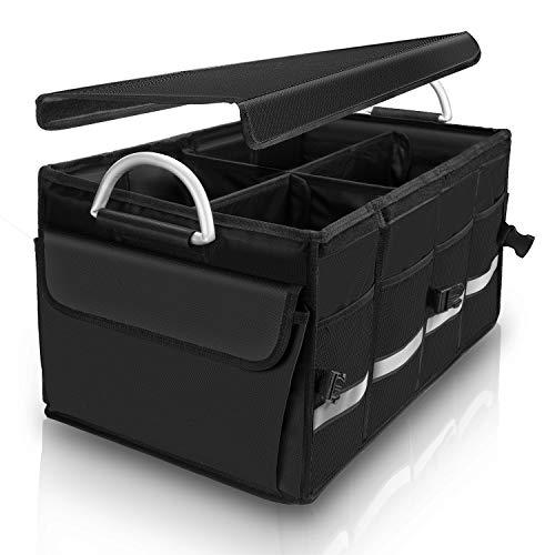 SOLOFISH Kofferraum-Organizer, Kofferraum-Tasche, Aufbewahrungsbox mit Deckel und Trennwänden, mehrere Fächer, zusammenklappbar, langlebig, wasserdicht, für große kleine Fahrzeuge