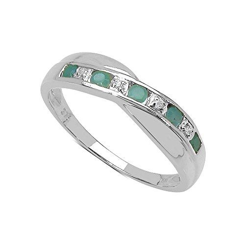 La Colección Anillo Diamante: Anillo Oro Blanco 9ct de Esmeralda y set Diamantes, Perfecto para Regalo, Anillo de eternidad Aniversario o compromiso talla del anillo 21,5