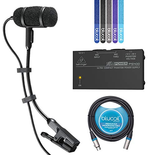 Audio-Technica PRO 35 Cardioid Condenser Clip-on Instrument Microphone? ??-INCLUDES-? ?Behringer MicroPower PS400 Phantom Power Supply, Blucoil 10-Ft XLR Cable AND 5-Pack of Cable ?Ties