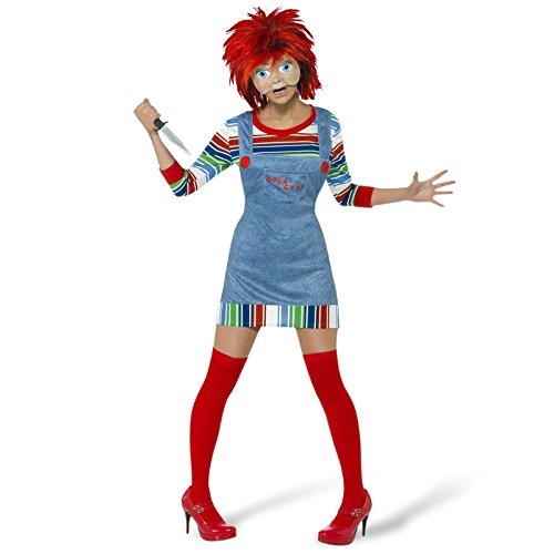 Chucky Horror Kostüm Damen 4-tlg. Mörderpuppe Gewand Halloween Smiffys - S
