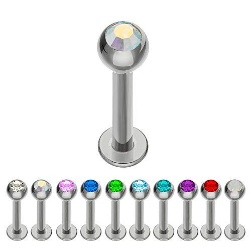 Treuheld® | Silbernes Titan LABRET Piercing mit KRISTALL - [32.] 1.0 x 6 mm (Kugel: 3mm) - Crystal