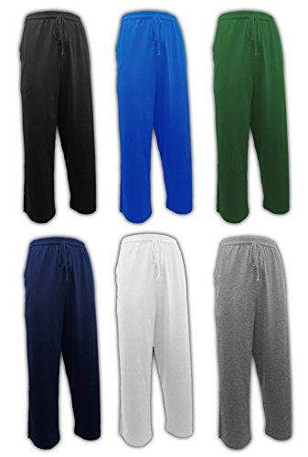 Andrew Scott Men's 6 Pack 100% Cotton Jersey Knit Yoga Lounge & Sleep Pajama Pants (6 Pack - Navy/Black/Royal/Hunter/White/Grey, Large)