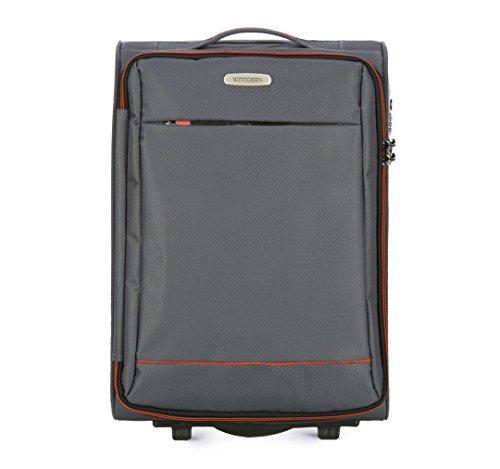 WITTCHEN Koffer – Handgepäck | Textil, Material: Polyester | hochwertiger und Stabiler | Grau | 33 L | 54x36x20 cm