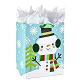 Hallmark 13' Large Christmas Gift Bag with Tissue Paper (Snowman with Ear Muffs)