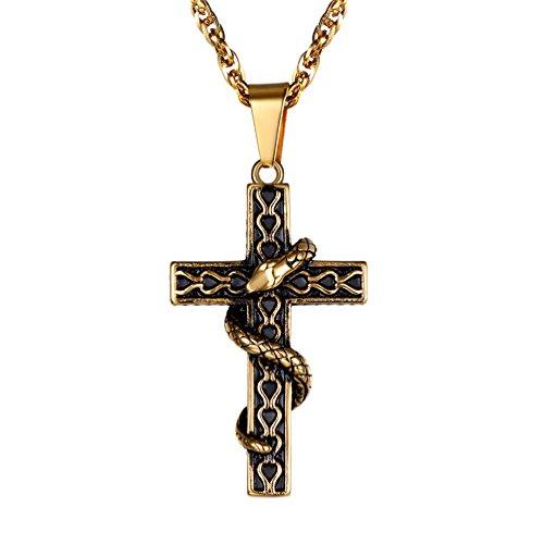 PROSTEEL Collana Crocifissa Serpente Satana Satanismo con Catena Regolabile, in Acciaio Inossidabile 316L Placcato Oro, Omaggio Confezione Regalo, Oro