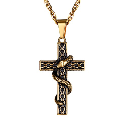 PROSTEEL Gold Filled Cross Snake Punk Necklace Pendant for Men Jewelry