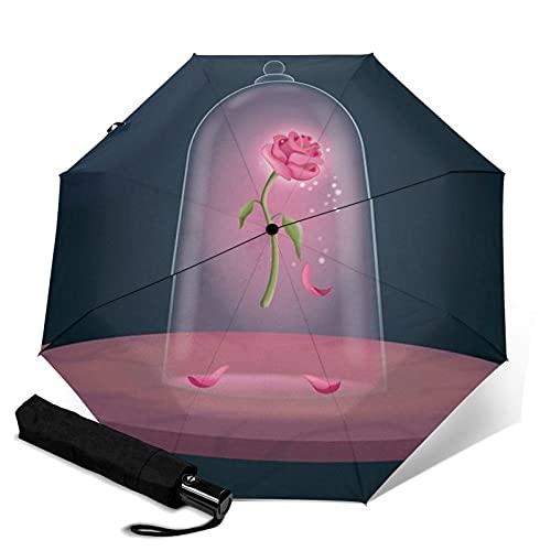 Beauty Beast Paraguas automático de tres plegables, ligero y pequeño, doble propósito para lluvia y sol, sol, protector solar y protección UV