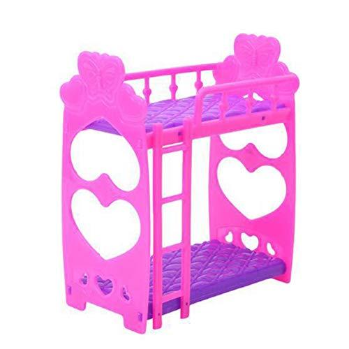 Litera de muñeca doble con escalera, Litera de plástico para muebles de dormitorio para muñecas Barbies Dollhouse, Mini Barbies Bed Kids Toy Frame Doll Double Bed Girls Gift