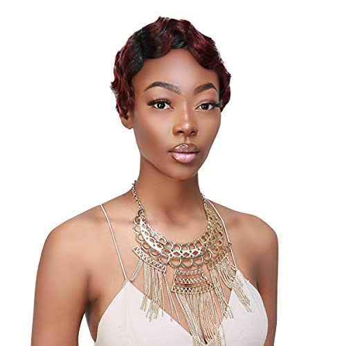 Instant Fab Finger Wave Human Hair Wigs for Black Women Short Curly Remi Human Hair Wig Pixie Cut Wigs Nuna Wigs Non Lace Front Wigs (OT1B/99J)