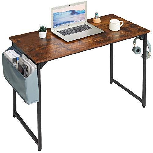 YMYNY 100cm Escritorio, Mesa de Ordenador, Mesa de Oficina, Mesa Multifuncional en la Oficina en Casa, Sala de Estar, Estudio, Estructura Metálica, Montaje Fácil, Marrón Rústico HTMJ31SH