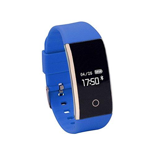 Kariwell Kari-167 - Reloj Inteligente con Bluetooth OLED de 0,66 Pulgadas, Contador de Pasos, Grabador de Sonido, Mando a Distancia, Alarma, podómetro, función de frecuencia cardíaca, Azul
