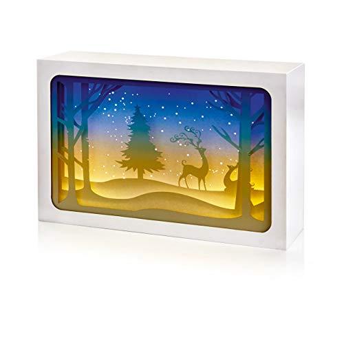 TRIXES Decoración LED Navideña con Renos - Cuboides Rectangular - 21cm