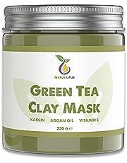 Groene Thee Gezichtsmasker 250g, veganistisch - natuurlijke cosmetica tegen puistjes, mee-eters en tegen acne - anti-aging verzorging voor de droge en onzuivere huid - reinigend masker voor gezicht en lichaam.