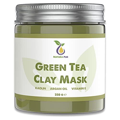Grüner Tee Gesichtsmaske 250g, vegan - NATURKOSMETIK Anti Pickel, Mitesser Maske und gegen Akne - Anti-Aging Pflege für trockene und unreine Haut - Reinigungsmaske für Gesicht und Körper