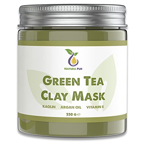 Grüner Tee Gesichtsmaske 250g, vegan - NATURKOSMETIK Anti Pickel, Mitesser Maske und gegen Akne - Anti-Aging Pflege für trockene und unreine Haut - Reinigungsmaske für...