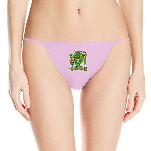 Teenage Mutant Ninja Turtles Women's Cotton Underwear Sexy Low Waist G-String Thong Panty Pink