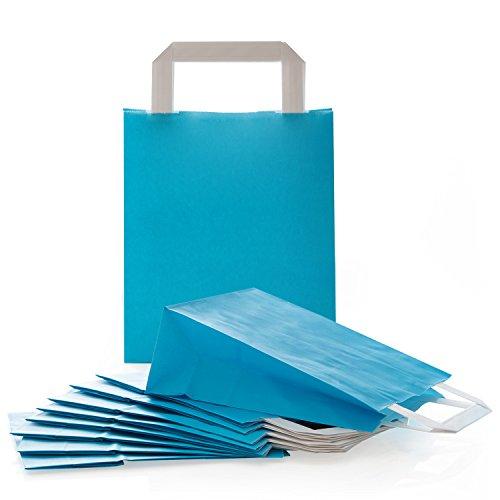 Logbuch-Verlag 25 kleine Papiertaschen Papiertragetasche Papiertüte mit Henkel BLAU TÜRKIS Geschenktasche 18 x 8 x 22 cm Geschenkbeutel Verpackung Mitgebsel give-away
