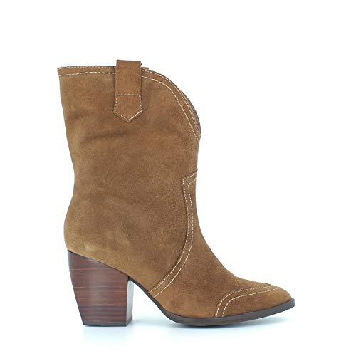 WONDERS M-4106 Damen-Stiefeletten mit Absatz im Cowboy-Stil, Lederfarben, Braun - Veldry Kamel - Größe: 38 EU
