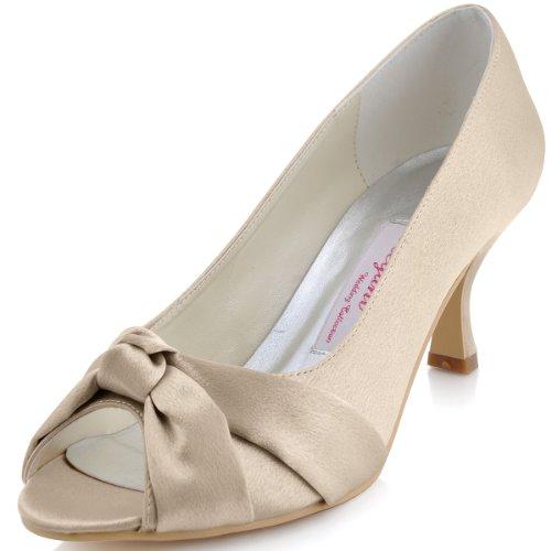 MM-014 Elegant Satin Peep Toe Stiletto Heel Bridal Party Shoes