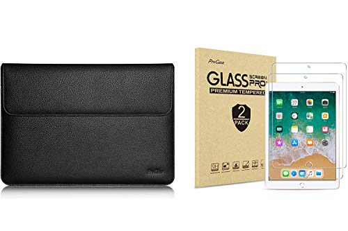 ProCase 9.7-10.5 Inch Wallet Sleeve Case Bundle with 2 Pack iPad 9.7 2018 & 2017 / iPad Pro 9.7 / iPad Air 2 / iPad Air Tempered Glass Screen Protectors
