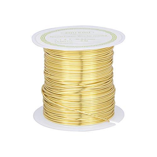 nbeads Fil en Cuivre Plaqué Or de 8 M/Rouleau de 0,8 mm pour Bijoux, Artisanat, Fabrication de Modèles, Emballage de Jardinage, 8M/Roll, 0.8mm in Diameter