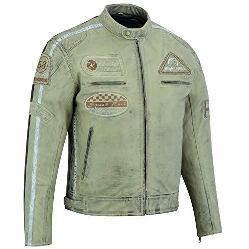 BOSMoto Motorradjacke Classic Urban für Herren aus Leder Retro Bikerjacke herausnehmbares Thermofutter (5XL), Beige, MESHA2058