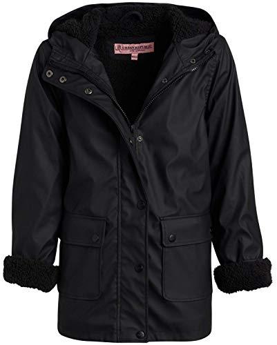 Urban Republic Girls Hooded Rain Jacket with Fur Lining, Size 10/12, Black